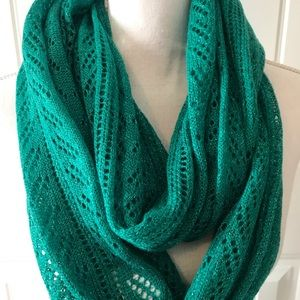 Emerald green sparkly knit infinity scarf